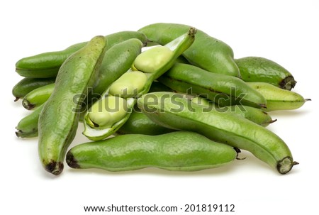 Broad bean in a white background - stock photo