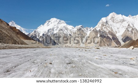 Broad Peak and Vigne Glacier in the Karakorum Range, Pakistan - stock photo