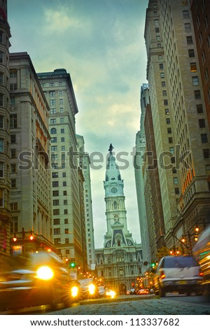 Broad street Philadelphia at night - stock photo