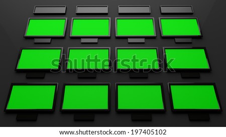 Broadcast Studio Interior with Green Screen - High Tech Videowall Presentation Concept - stock photo