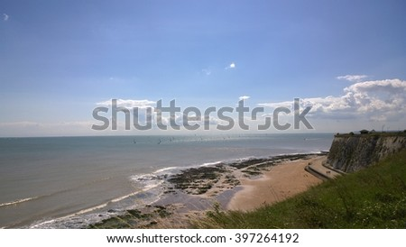 Broadstairs Clifftop over the sea - stock photo