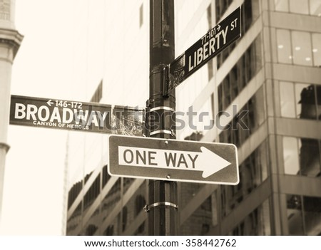 Broadway and One Way road sign, New York City
