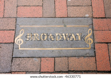 Broadway street marker in Nashville - stock photo