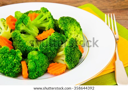 Broccoli and Carrots. Diet Fitness Nutrition Studio Photo