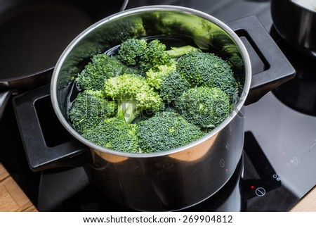 Broccoli boiled in a water