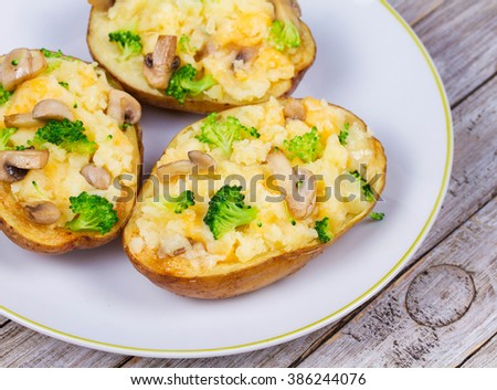 Broccoli, Cheese and Mushroom Chowder Potato - stock photo