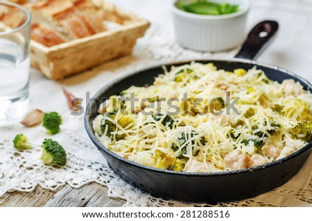 broccoli cheese chicken rice on the white background. the toning. selective focus - stock photo
