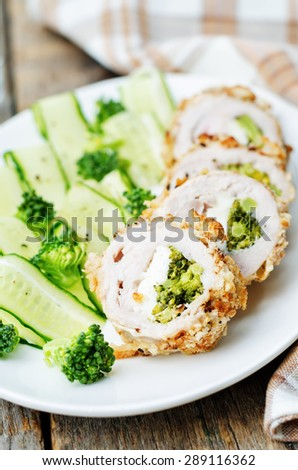 broccoli cheese stuffed crumbs chicken. the toning. selective focus