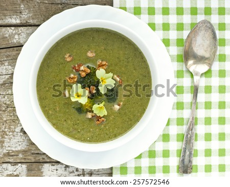 Broccoli cream soup with roasted walnuts and primula flower - stock photo