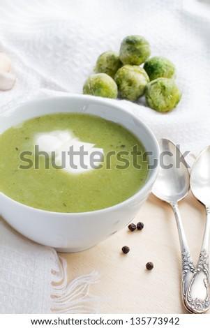 Broccoli green fresh cream soup - stock photo
