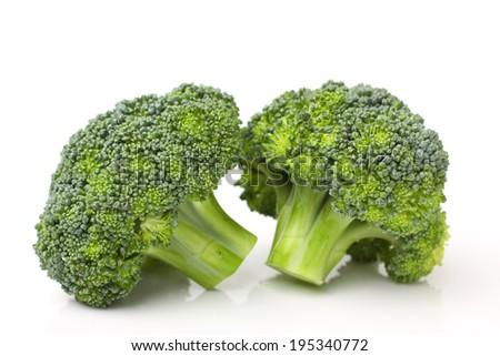 Broccoli isolated against white background - stock photo