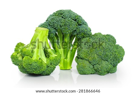 Broccoli isolated on white background close up - stock photo