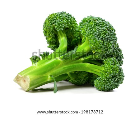 Broccoli isolated on white background. Close-up view. - stock photo