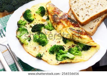 Broccoli omelette. Breakfast - stock photo