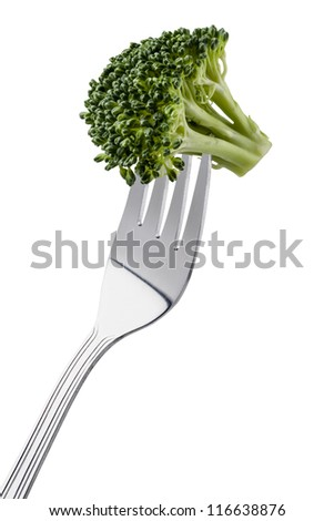 broccoli on a fork isolated on white background and copy space