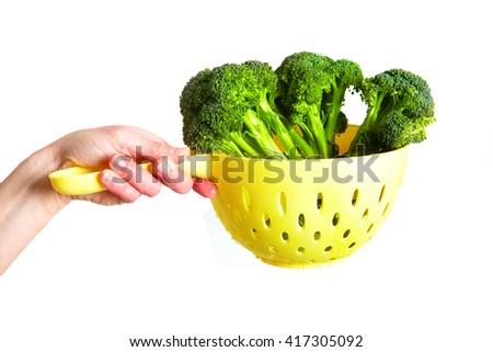 Broccoli on a white background. Fresh broccoli - stock photo