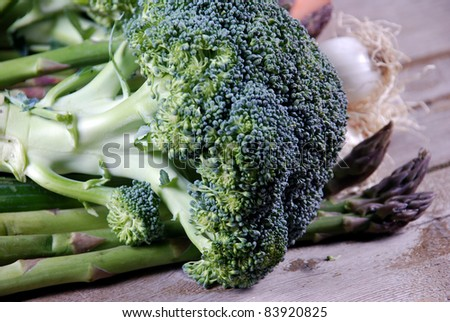 broccoli on a wooden board