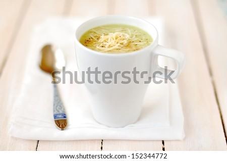 Broccoli, Potato and Cheese Soup - stock photo
