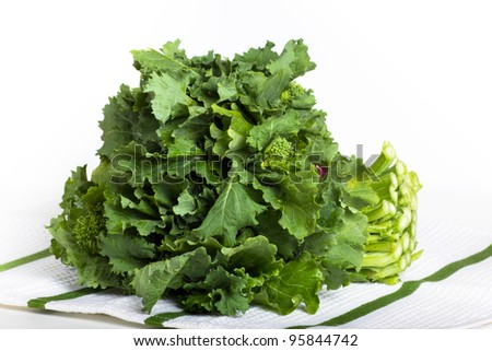 Broccoli rabe greens on a green and white cloth
