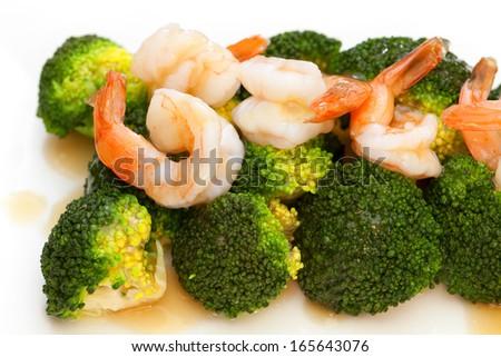 broccoli with prawn and gravy - stock photo