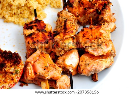 Brochettes of fresh salmon French Provencal style