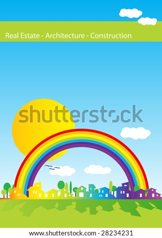 Brochure cover - Real estate, architecture, construction company - Houses silhouettes and rainbow