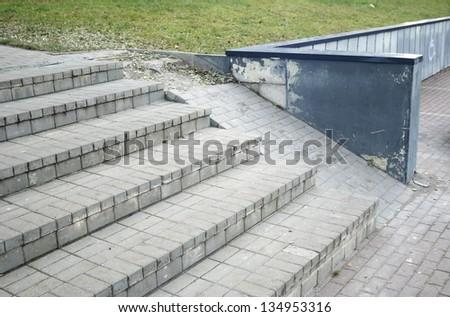 brocken ramp for wheelchairs - stock photo