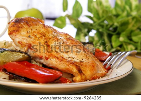 Broiled chicken breast with cayenne and cracked black pepper, served with zucchini, red bell peppers, and wild brown rice. - stock photo