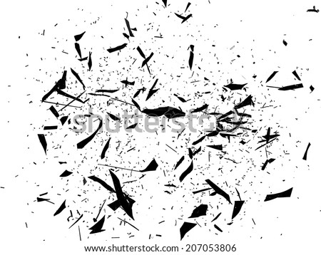 Broken and Shattered glass on white. Large resolution - stock photo