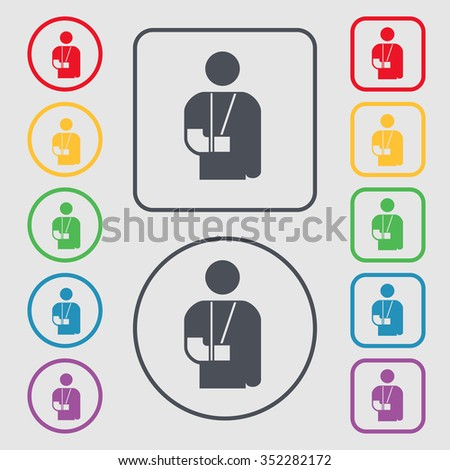 broken arm, disability icon sign. symbol on the Round and square buttons with frame. illustration - stock photo