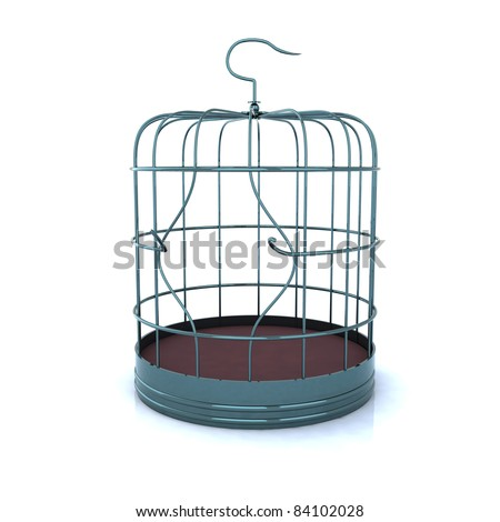 broken bird cage, the concept of escape - stock photo