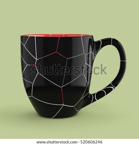 Broken Black Mug Empty Blank for Coffee or Tea on a green background. 3d Rendering