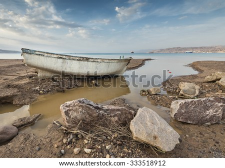 Broken boat after storm