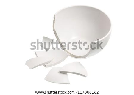 Broken Bowl on White Background - stock photo
