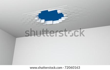 Broken Brick Ceiling - stock photo