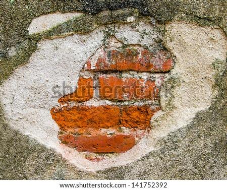 Broken brickwall - stock photo