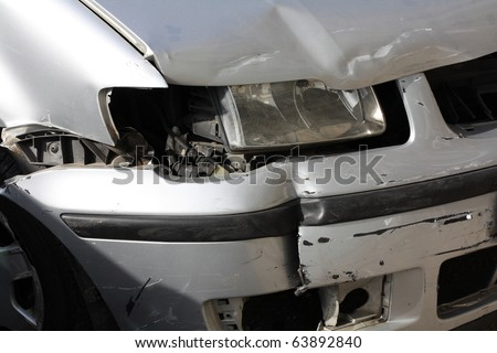 broken car headlight - stock photo