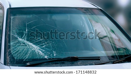 Broken car windshield. Accident of car. Selective focus - stock photo
