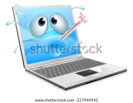 Broken cartoon laptop computer, cartoon of an unwell laptop computer with a bursting thermometer in its mouth. Could be a broken laptop computer or one that has a virus or other malware - stock photo