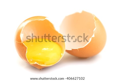 broken chicken egg isolated on a white background