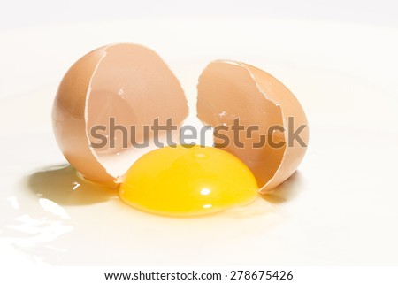 Broken chicken egg isolated on white - stock photo