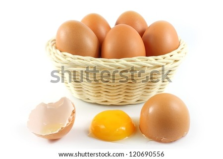 broken chicken eggs and eggs in the basket
