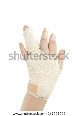 Broken child hand.  Isolated on white background