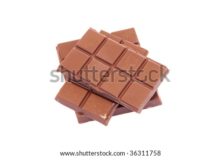 Broken chocolate bar on a over white background