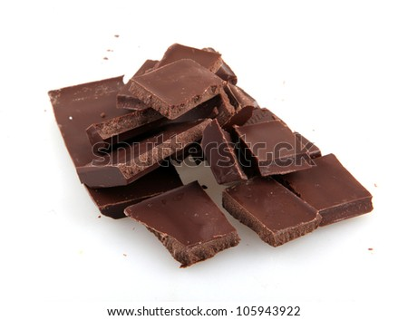Broken chocolate bar on a white background.