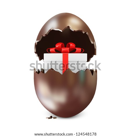Broken chocolate easter egg gift box stock illustration 124548178 broken chocolate easter egg with gift box inside over white background animation for this negle Choice Image