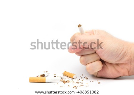 Broken cigarette on white background. healthy concpet - stock photo