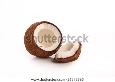 Broken coconut with white pulp