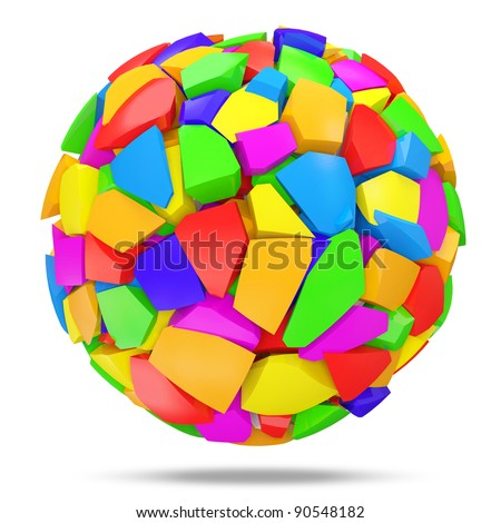 Broken Colorful Sphere on white background - stock photo