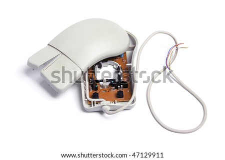 Broken Computer Mouse on White Background